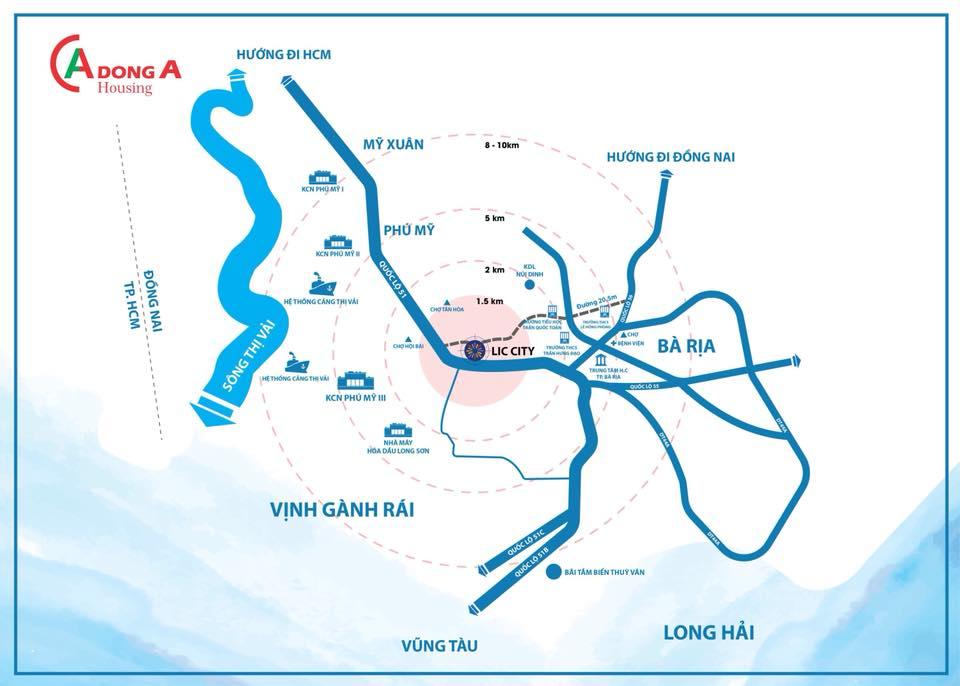 Vị Trí Dự Án Lic City Thị Xã Phú Mỹ - Bà Rịa Vũng Tàu