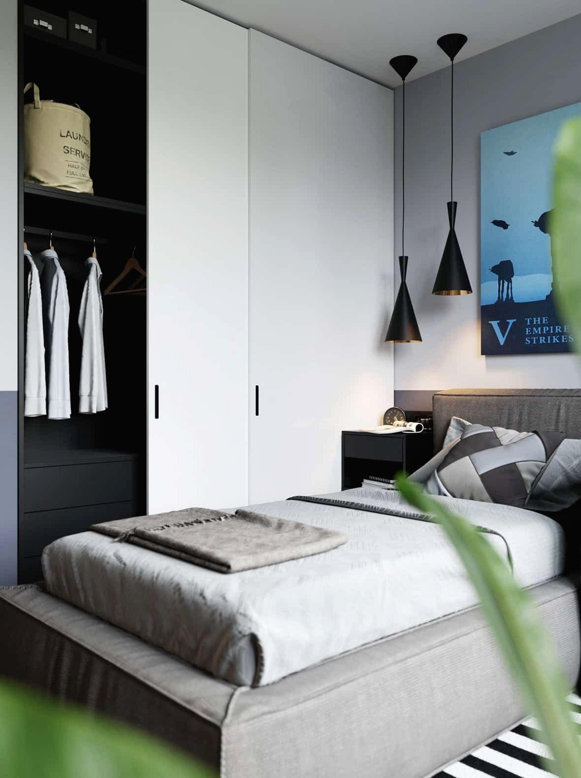 Phòng ngủ nhỏ hơn sử dụng không gian với hiệu quả truyền cảm hứng.