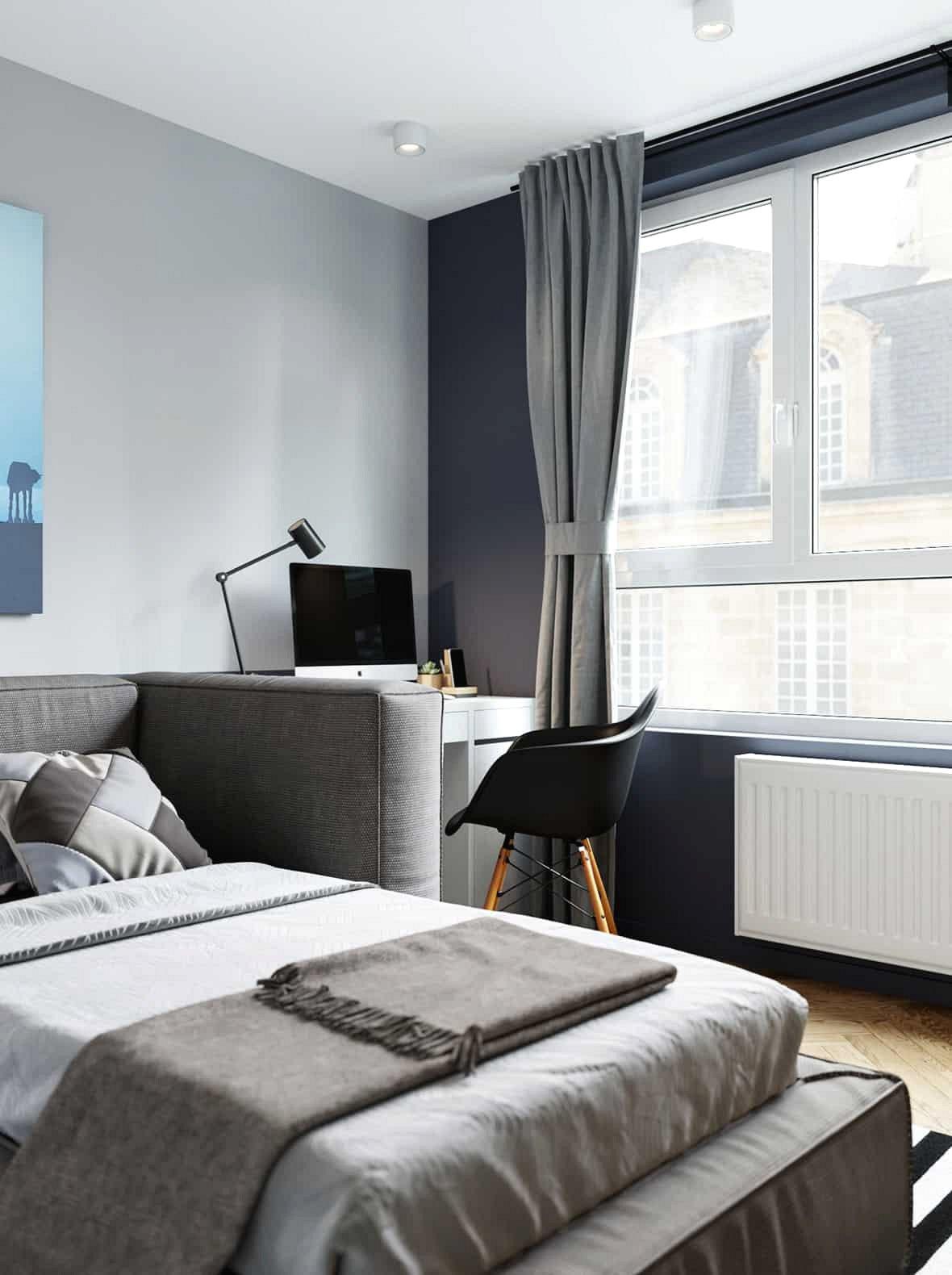 Trong khi đầu giường bọc xung quanh cho phép chiếc giường này tăng gấp đôi như một chiếc ghế dài, nó cũng tạo ra sự tách biệt giữa khu vực ngủ và không gian làm việc.