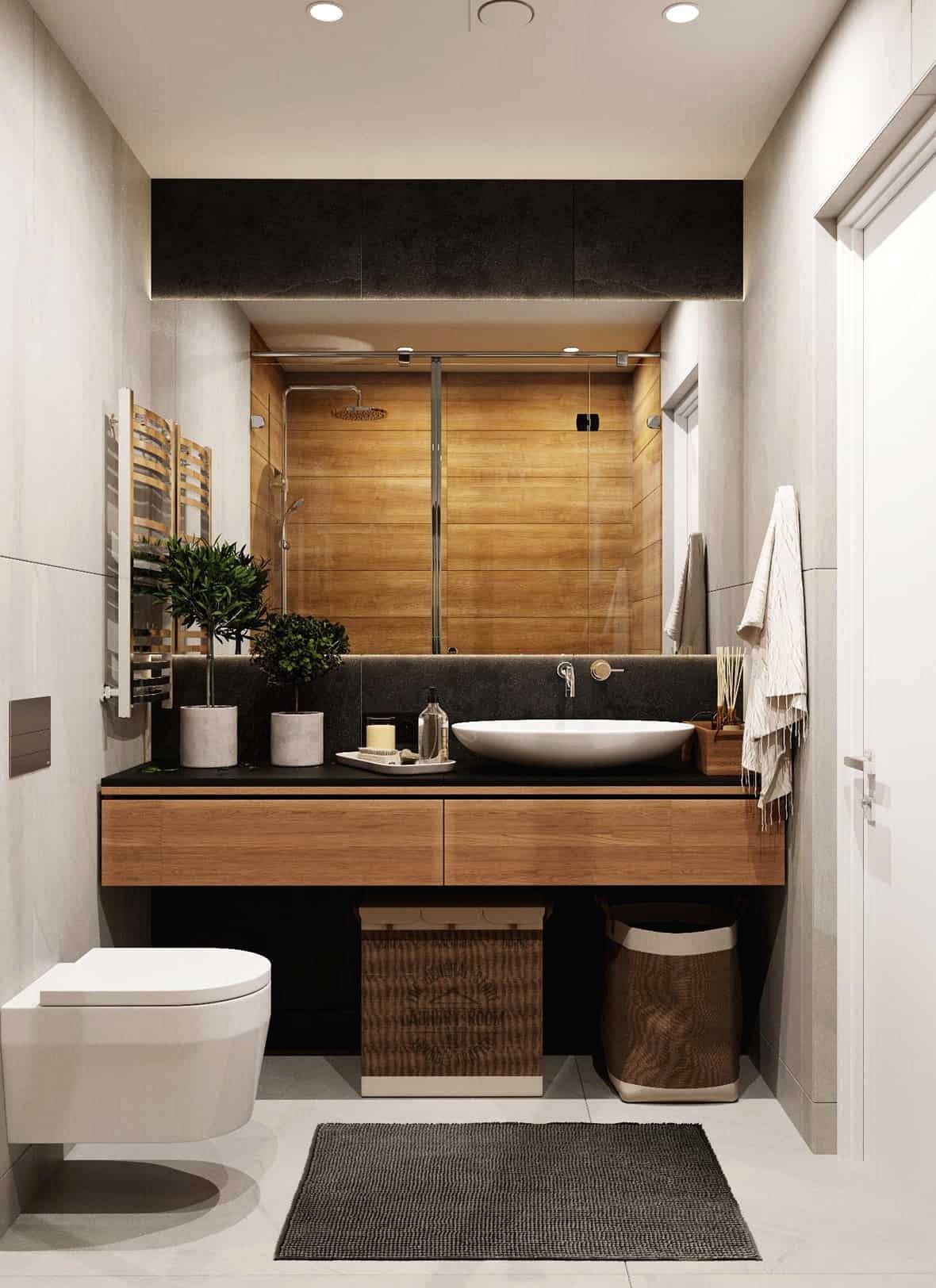 Chủ đề tự nhiên và bảng màu trung tính trong phòng tắm chính.