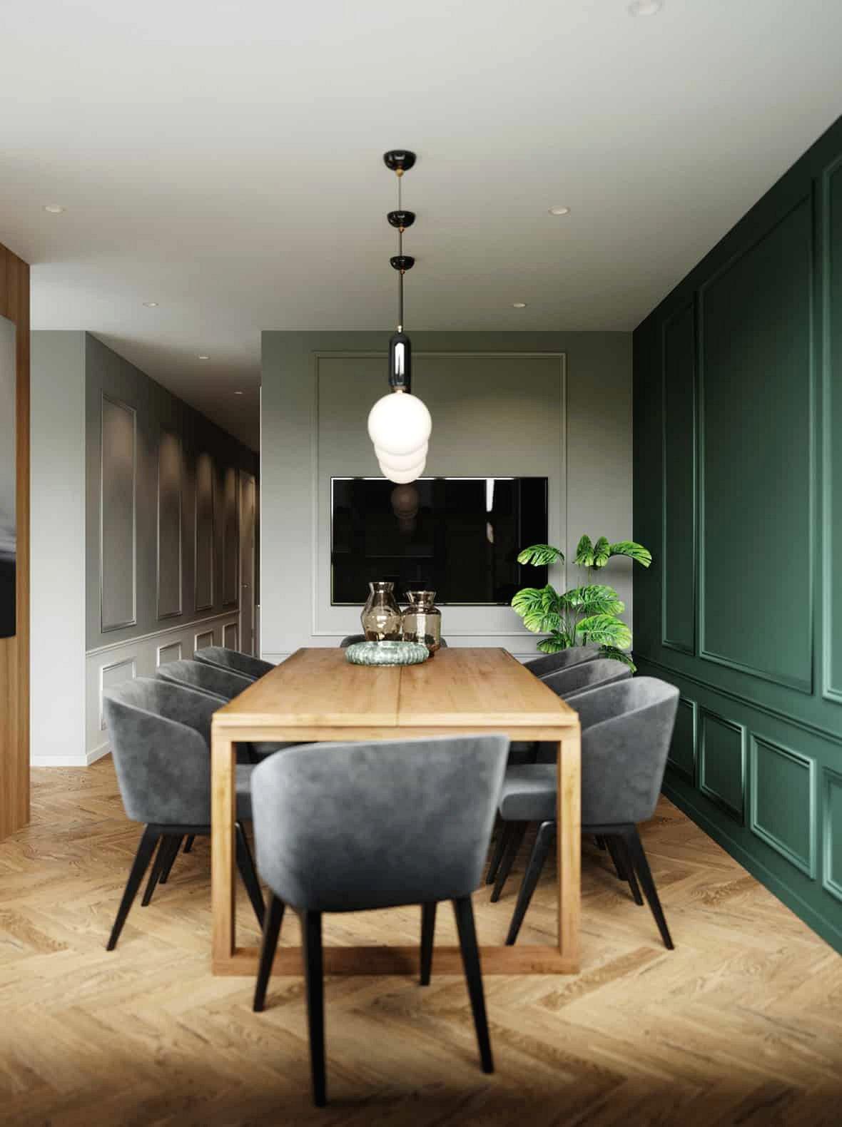 Một chiếc tivi thường làm cho một phòng ăn trang trọng trở nên giản dị hơn.