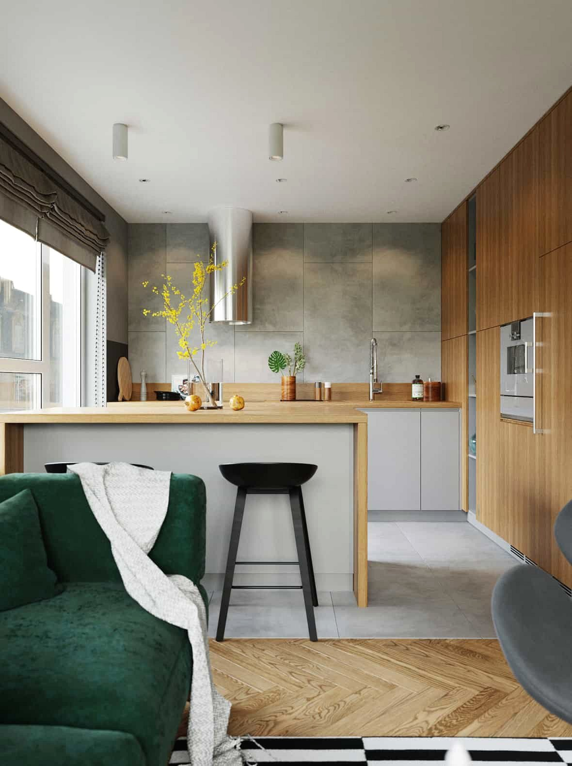 Liền kề với phòng khách, là nhà bếp tiện nghi, cảm giác thông thoáng nhờ cửa sổ rộng kính từ sàn đến trần.