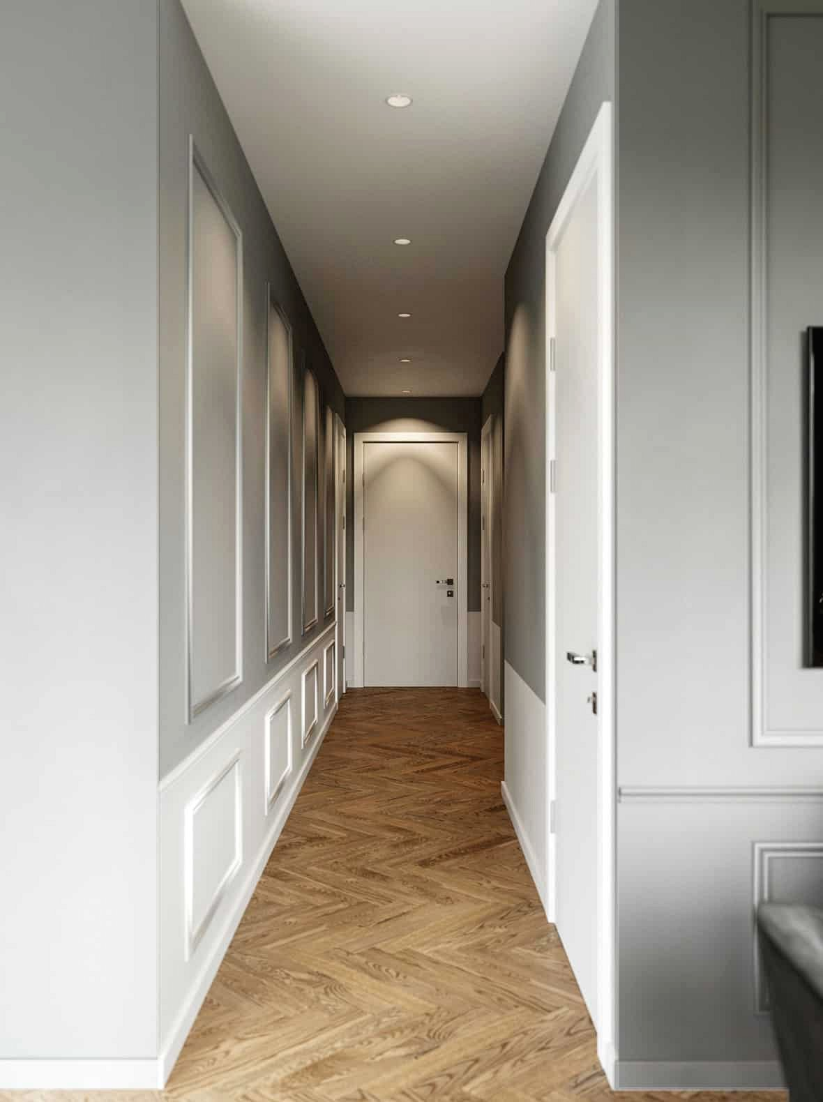 Màu sắc hai tông màu và bảng trang trí cho hành lang trang trí tinh tế hấp dẫn.