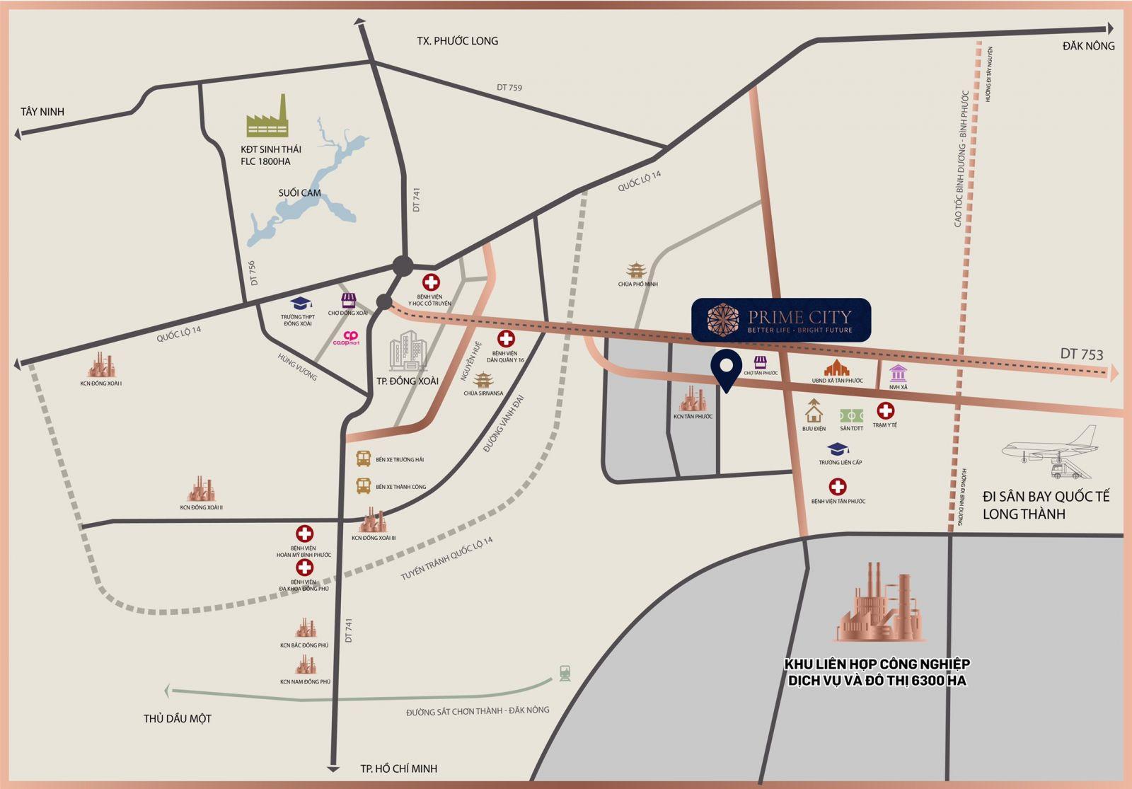 Vị Trí Dự án Prime City Bình Phước